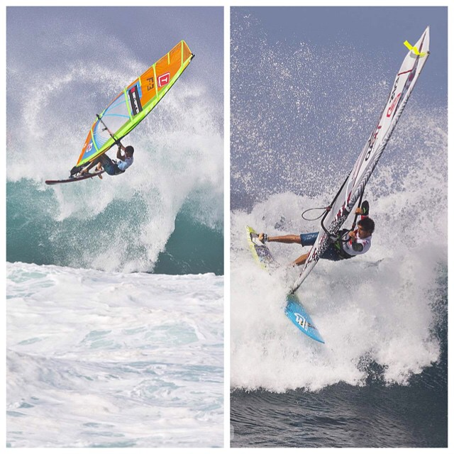 The last two men standing in the battle for the 2014 PWA Wave World Title - it's come down to Traversa vs Fernandez. @victore42 #windsurf #wave #titlerace #starboard #severne #pwa #alohaclassic #titlerace #tabou #gasails #fanatic #north #mfc @fanaticwindsurf @mfchawaii