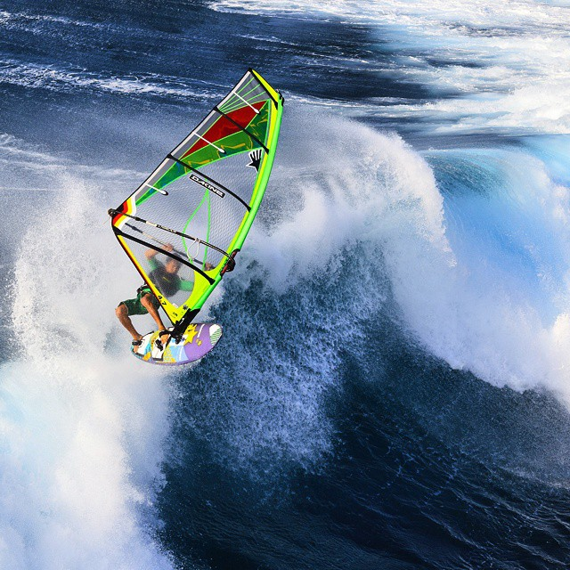 Helicopter photos from Hookipa are some of my favorites. This is an air on a big day photographed by @jeromehouyvet